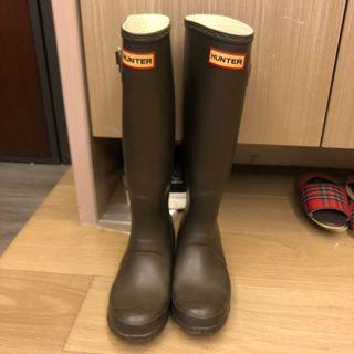 Hunter 長筒雨鞋 靴子 經典款式 咖啡色 3號