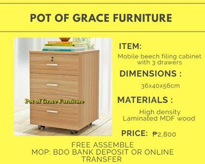 Mobile beech filing cabinet with 3 drawers