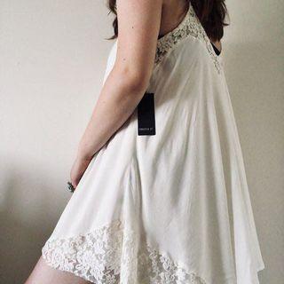 F21 Inspired White Trapeze Dress