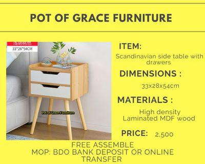 Scandinavian side table with drawers