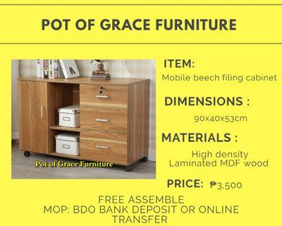 Mobile Beech filing cabinet