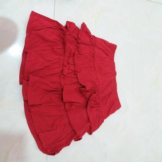 Red Layered Skirt