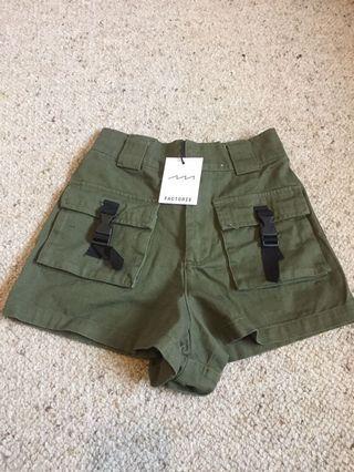 NEW khaki military utility shorts high waisted