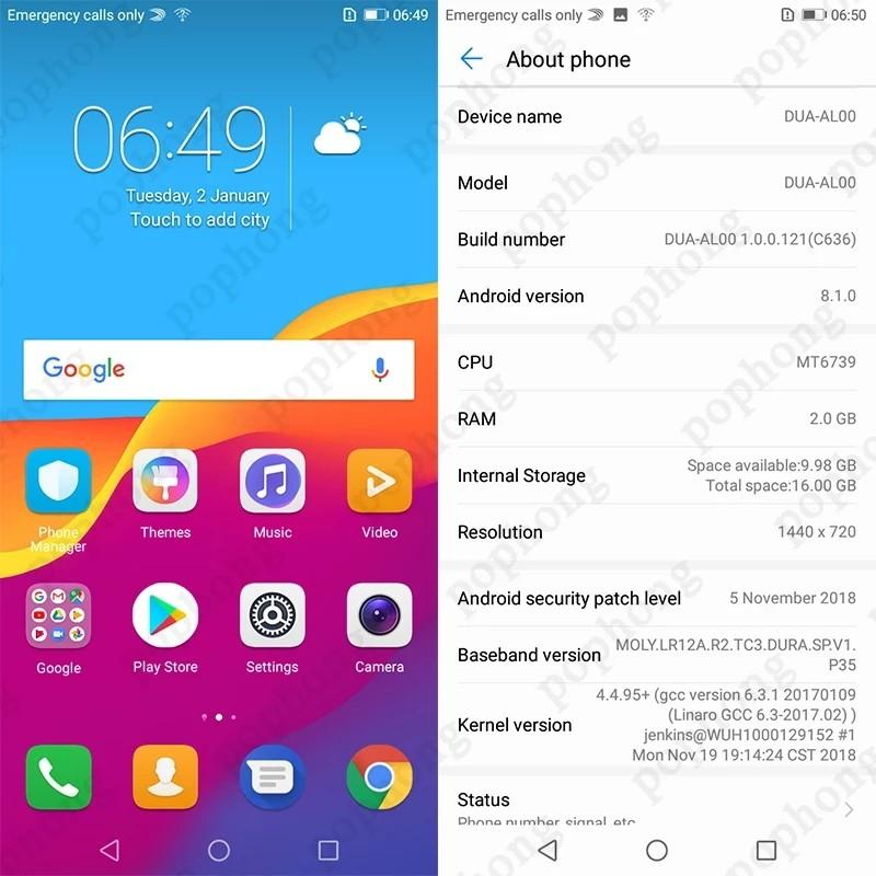 5.45 inch Huawei Y5 prime 2018 honor 7 play Global ROM Android 8.1 Smartphone