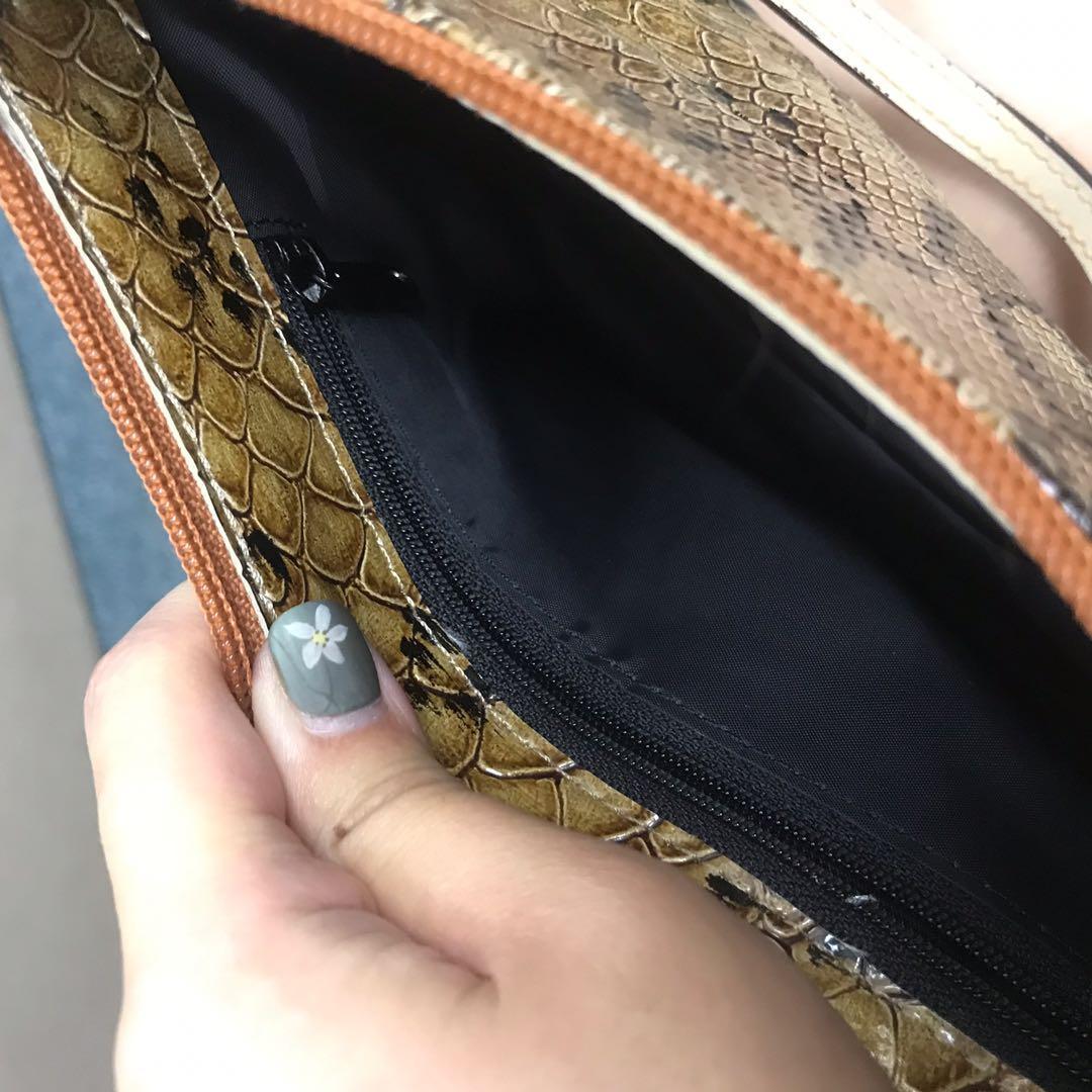 日本 🇯🇵 購入 豹紋真蛇皮 clutch handbag