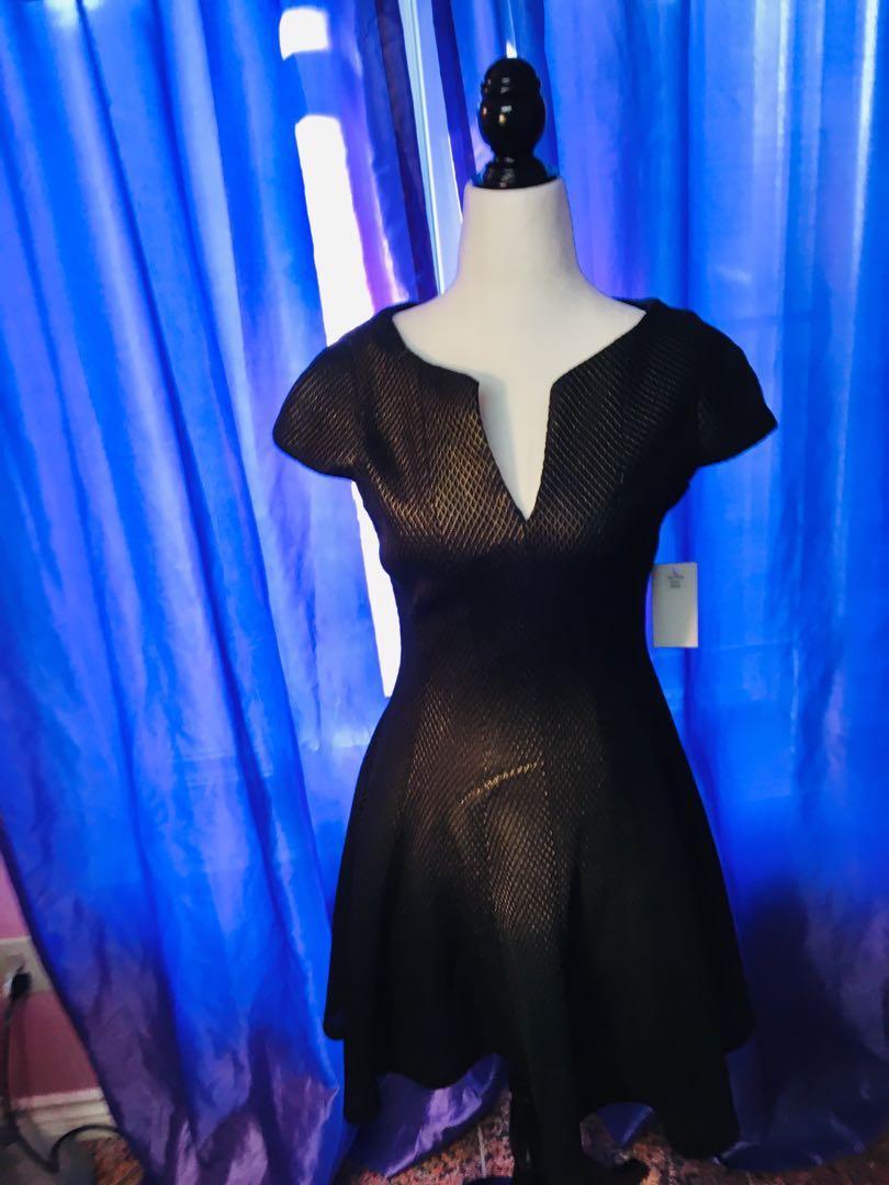Brand New Size 6 metallic gold/ black cocktail dress