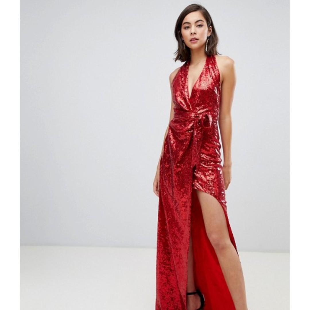 HIRE: City Goddess Halter Neck Sequin Maxi Dress With Split Detail