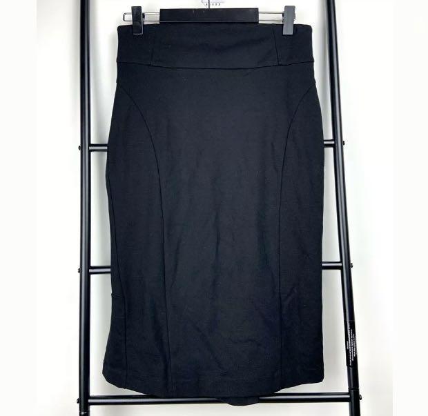 Cue In The City sz 10 black basic midi skirt pleated back work career business