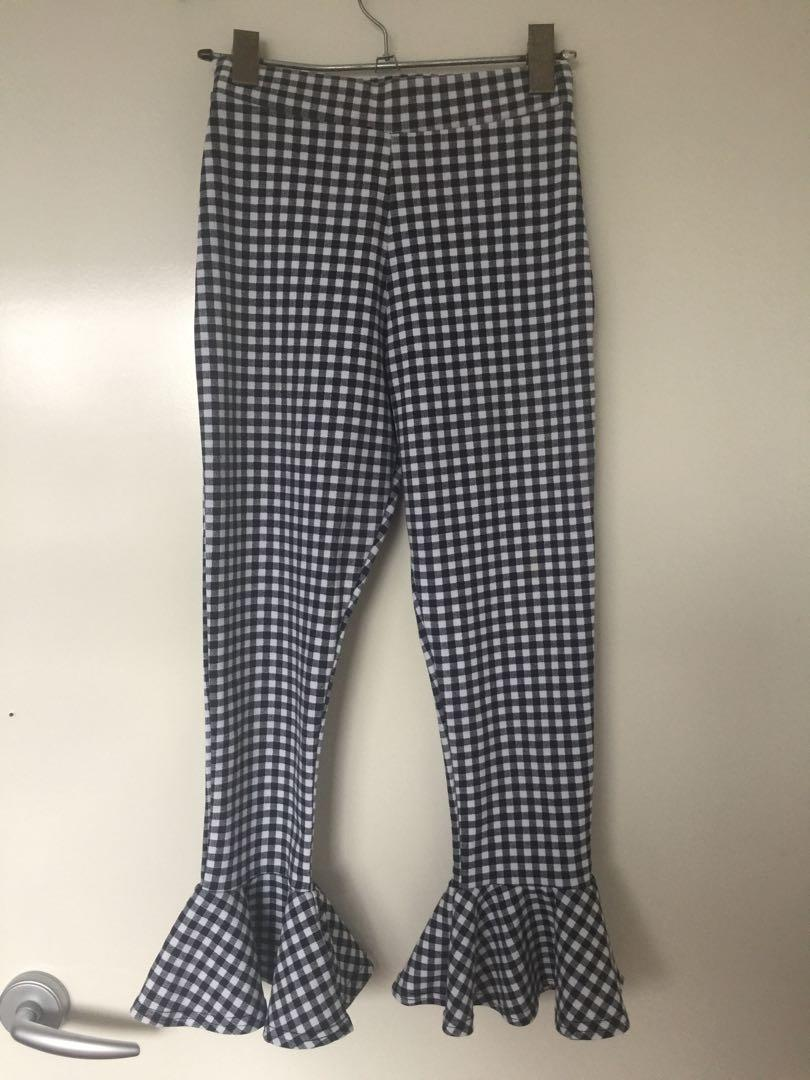 Checkered frilly legs festival pants/tights #swapau