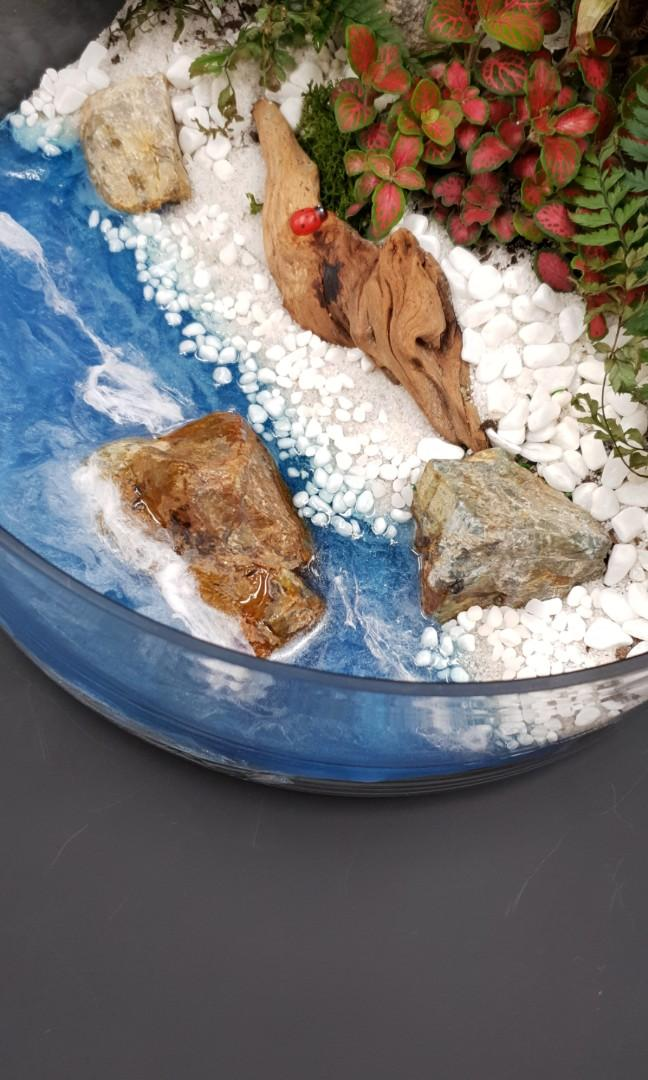🧚♂️🧚♀️🌻Handcrafted Tabletop Miniature Seascape Garden🧚♂️🧚♀️