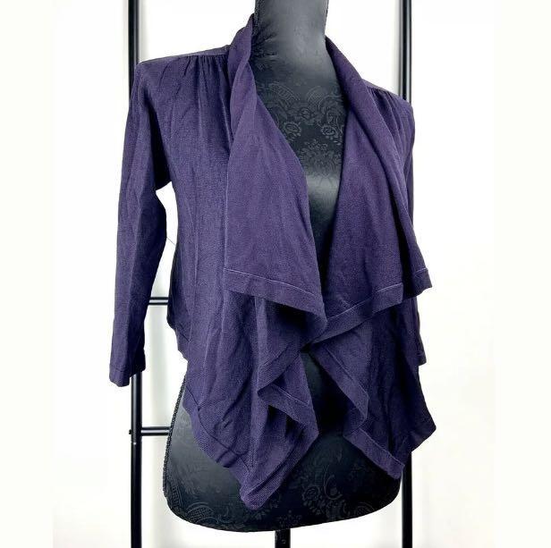 Karen Millen sz 2/XS/S dark purple drape waterfall knit blazer jacket silk blend