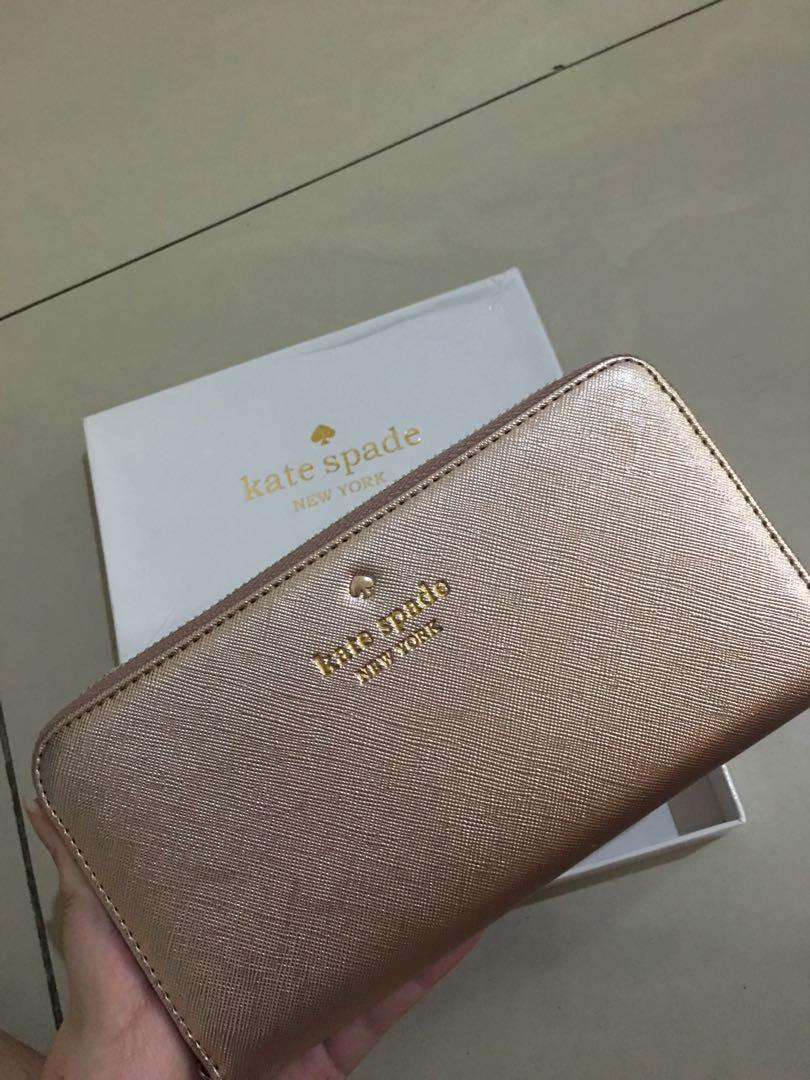 Kate Spade Wallet Rose Gold Authentic Quality