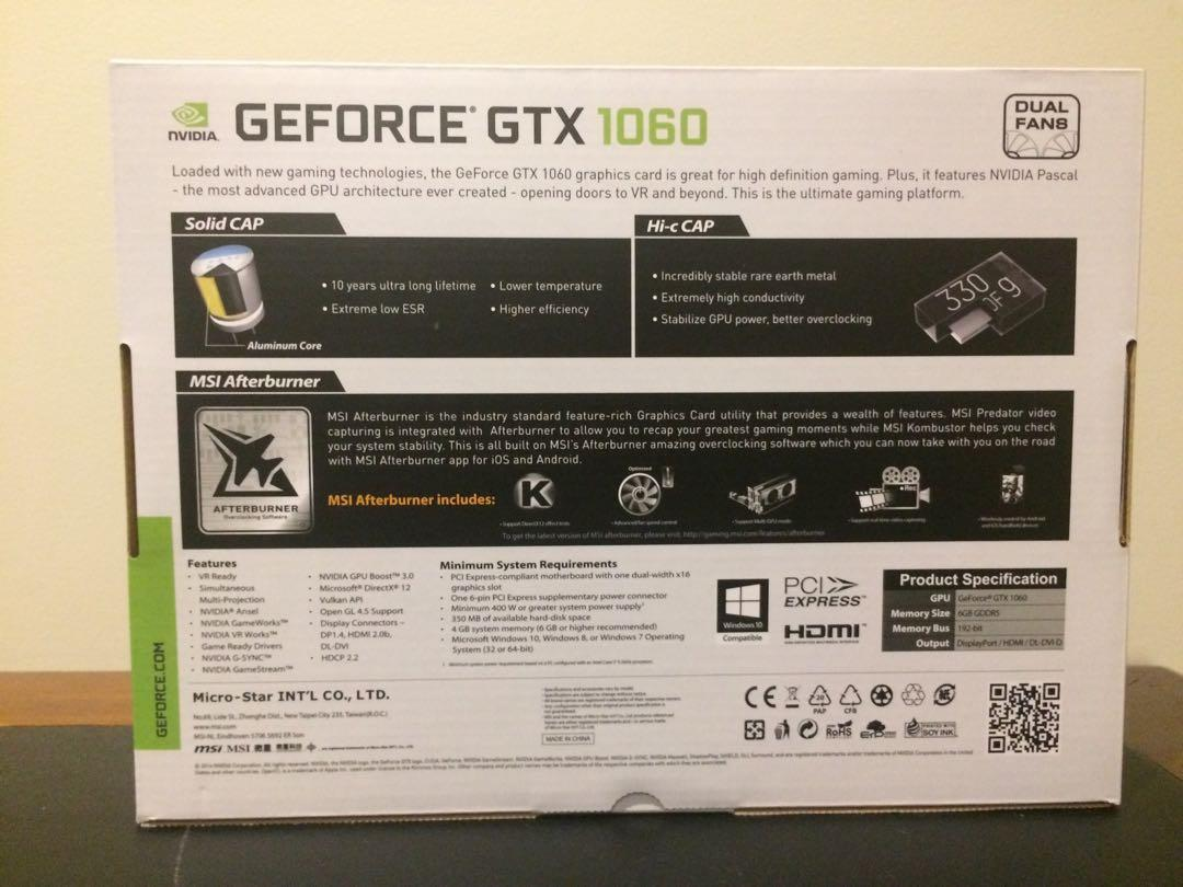 MSI GEFORCE GTX 1060 6gb graphics card (white and black)