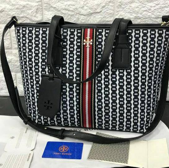 NEW Tory Burch Canvas tote bag full set / tas TB Premium / new arrival free name tag