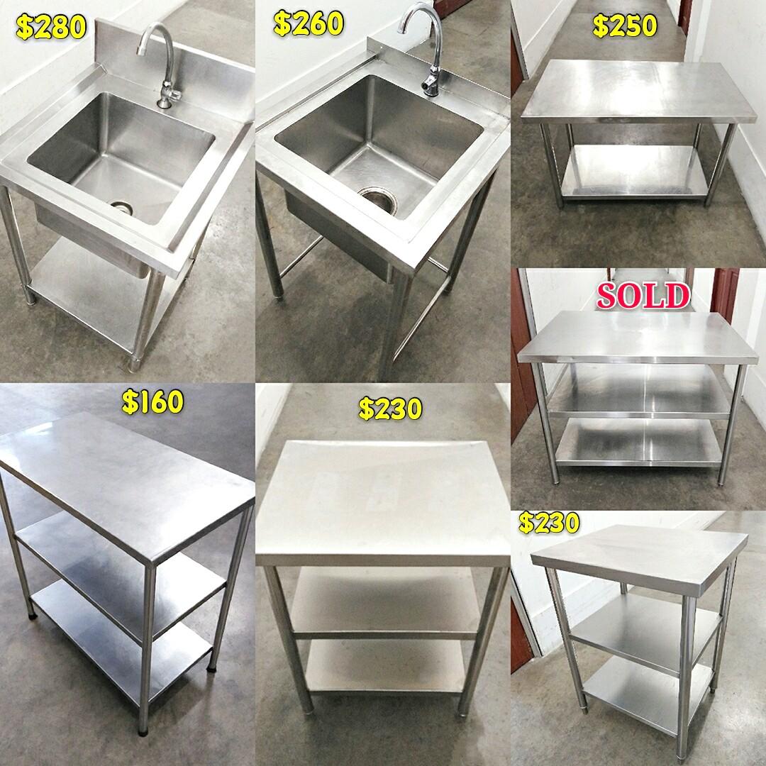 Stainless Steel Single Bowl Sink Basin Kitchen Sink Table 2 3 Tier Work Table Stainless Steel Table