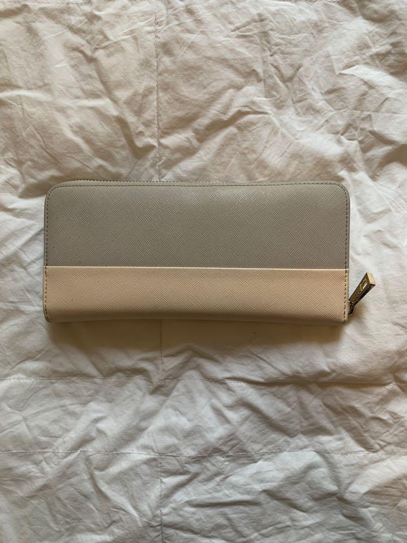 TDE Mist Grey and Pale Pink Colour Block Continental Wallet
