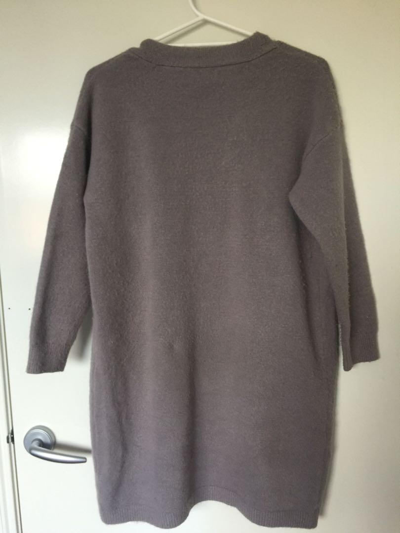 Thick grey cardigan coat #swapau