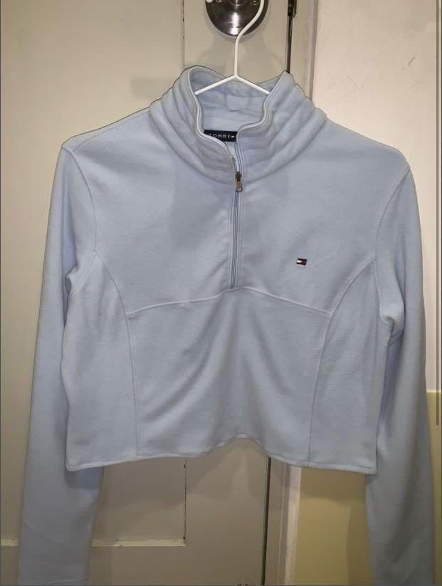 tommy hilfiger baby blue quarter zip jacket