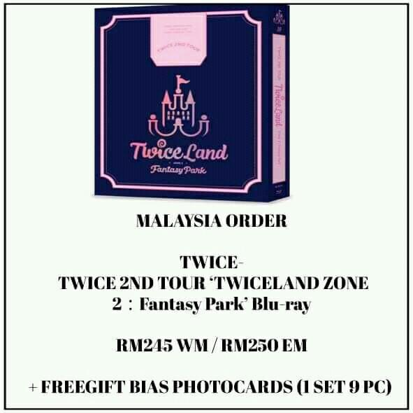 TWICE - TWICE 2ND TOUR 'TWICELAND ZONE  - PREORDER/NORMAL ORDER/GROUP ORDER/GO + FREE GIFT BIAS PHOTOCARDS (1 ALBUM GET 1 SET PC, 1 SET HAS 9 PC)