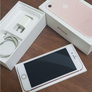 iphone 7 128G 玫瑰粉 蘋果手機 功能正常 配件如圖 電池100