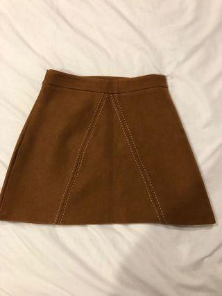 Camel/ Brown Faux Suede A-line mini Skirt