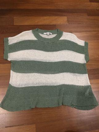 Green & White striped loose Knitted Top #JunePayDay60