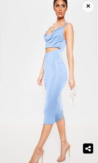 PrettyLittleThing Blue Slinky Cut Out Dress