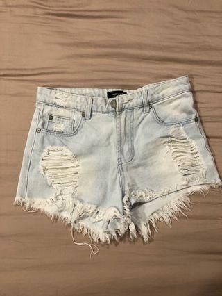 Ripped Denim High Waist Shorts HWS