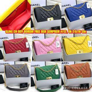 TAS SLING CH BOY BORDIR FREE BOX SEMPREM #J12 HARGA: RP. 195,000 UKURAN: 24x16 CM