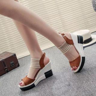 (PO) 35-40 new fashion Wedge women Shoes Casual Belt Buckle High Heel Shoes Fish Mouth Sandals 2019