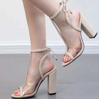 Size 6 Beige nude block heels transparent
