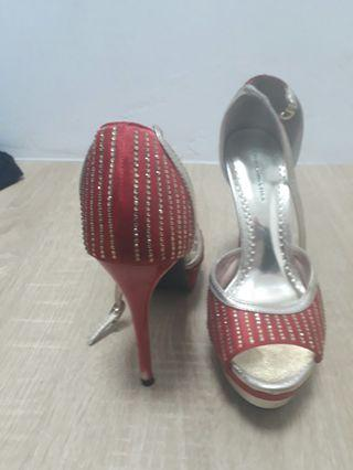 RED GOLD HIGH HEELS SHOES