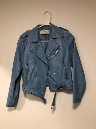 Zara Light Blue Leather Jacket XS