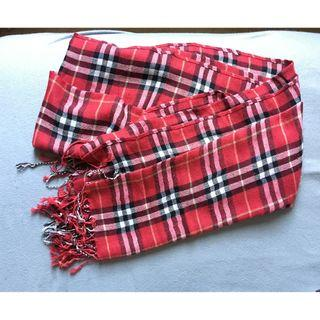 Brand New Red Check Scarf with Tassels 全新紅色格仔頸巾