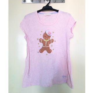 Brand New PETERALEXANDER Pink 100% Cotton PJ Tee with Gingerbread Man Print 全新PETERALEXANDER粉紅全棉睡衣