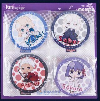 Fate 正版fate襟章(1 set 4個)