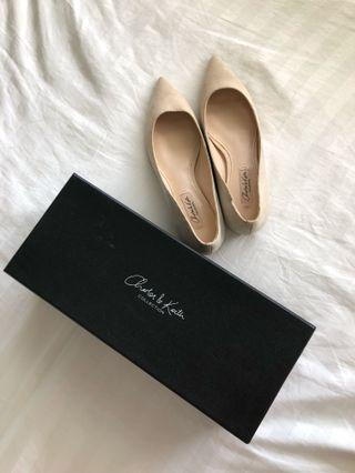 BNIB Charles and Keith nude suede flats