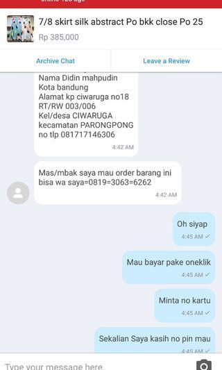 "Hati hati u/ para olshop 😊 ( slide beda"" account)"