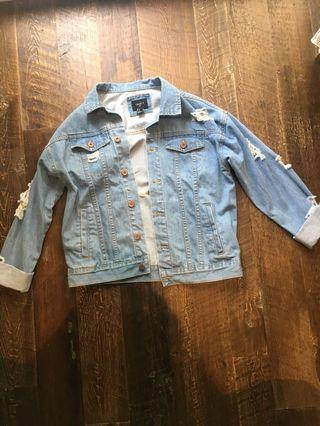 Oversized distressed jean jacket