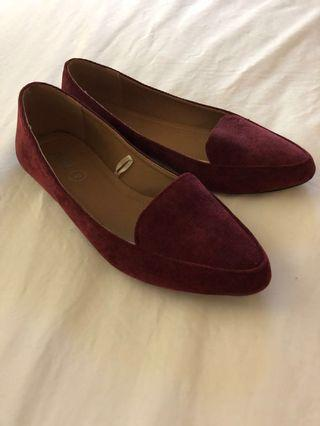 *Sold Privately* 'Rubi Shoes' Corduroy Maroon Flats Size 36