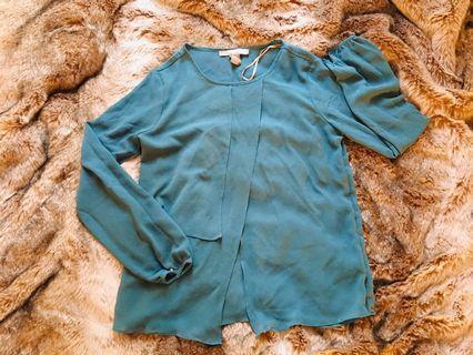 Teal chiffon blouse