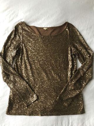 J CREW Gold Sequin Top - Size S