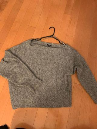 Guess Grey Fuzzy Off-Shoulder Sweater