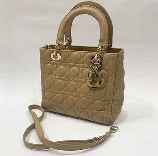 CHEAP AUTHENTIC LADY DIOR MEDIUM Camel 2011