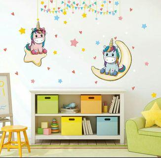 🌟PM for price🌟 🍀Cute Unicorn Kids Room Wall Sticker🍀