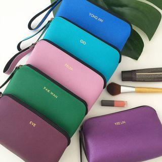 Minimalist style personalised makeup pouch bag cosmetic pouch bag personalised gift for Girlfriend wedding bridesmaid gift travel Organizer beauty couple gift farewell gift birthday gift office gift exchange company party favours