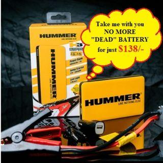 HUMMER : Multifunction Car Jump Starter/Power Bank Hummer H3 $138/-    (6000mAh/22.2Wh) 3.5L Petrol/ 2.0 L Diesel Vehicle