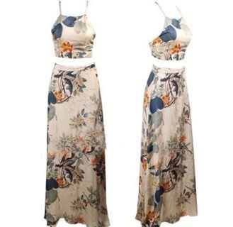 Two piece floral  dress and skirt