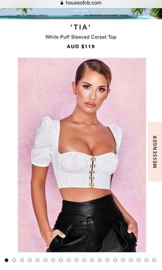 House of CB White Puff Sleeved Corset Top