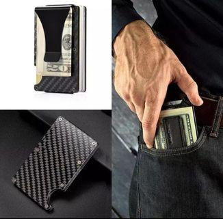 Carbon Fiber Slim Wallet, Front Pocket Wallet and Money Clip Wallet RFID Blocking